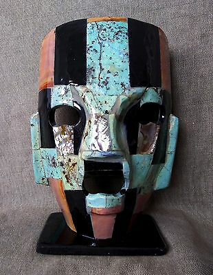 Onyx Marble, Turquoise And Abalon Mayan Style Mask. Mexican Folk Art.