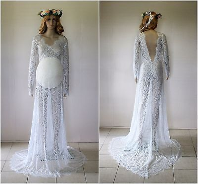 White Lace Maternity Dress Gown With Train - Photography Photo Prop - Size 10-14
