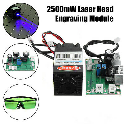Focusable 2500mW  450nm Blue Laser Module w/ TTL Board + Goggle for Wood Carving
