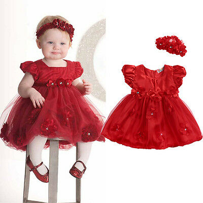2PCS/Set Baby Newborn Girl Princess Dress Lace Pageant Party Dress+Headband Xmas