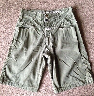Marithe Francois Girbaud Shorts Flat front, Army Green Stone Washed Men's 30