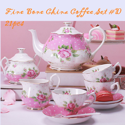 Fine Bone China Pottery Porcelain Elegant Ceramic 21pc Coffee Tea Pot Cup Set #D