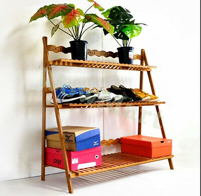 New Universal Usage 3 Tier Folding Bamboo Plant Flower Display Shoe Shelf Rack