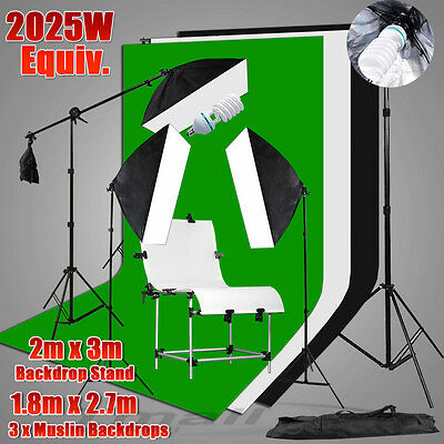 Studio Softbox Light Stand 3 Muslin Backdrop Support & Photo Shooting Table Kit