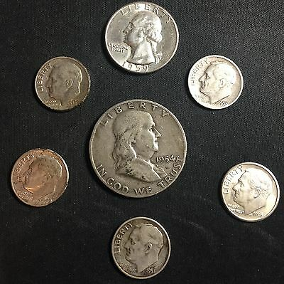 90% Silver Us Coin Lot Of Franklin 1/2, Washington 1/4 & 5 Roosevelt Dimes