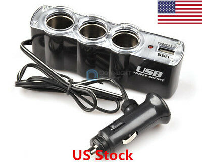 US 3 Ways Multi Car Cigarette Socket Lighter Splitter Charger DC power Adapter