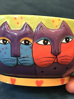 Laurel Burch Signed Ganz 2 Cat Face Jumbo Tea Cup, China