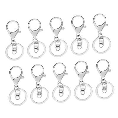 10x Swivel Trigger Clip Lobster Clasp Snap w/8 Hook Keyring Findings Silver