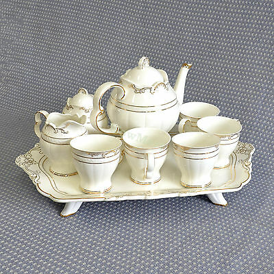 Bone China Pottery Porcelain 10pc Ceramic Coffee English Tea Pot Cup Stand Set A