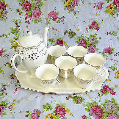 New Pottery Porcelain 8pc Ceramic Water Jug Coffee Tea Pot Cup Tray Set E