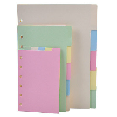 5x A5/A6/A7 Blank Index Multi-Colored Tabs Dividers Insert Text Refill Organiser