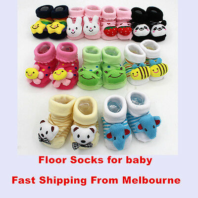 Baby No Slippery Socks Newborn Kid Safety Soft Shoes Boy Girl Multi Color Toy