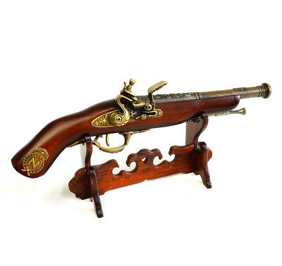 "New Gift Home Decoration Flintlock 15"" Pistol Models #03 Wooden Desk Top Stand"