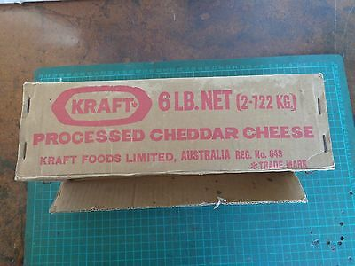Vintage KRAFT cheese cardboard & wood packing carton , 6 lb net