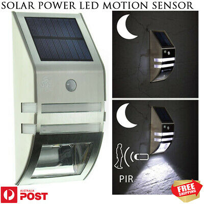 New Stainless Steel Solar Power LED Motion Sensor Garden Outdoor Wall Light Lamp
