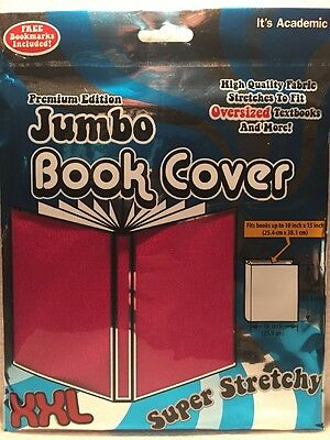 Jumbo XXL 10x15 Super Stretchy Washable Reusable School Textbook Cover NEW PINK