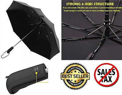Automatic Travel Umbrella Auto Open Close Compact Folding Rain Windproof Anti UV