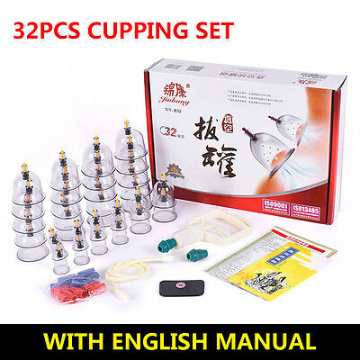 32 CUPS/SET Chinese Cupping Vacuum Massage Medical Therapy Diet Acupuncture