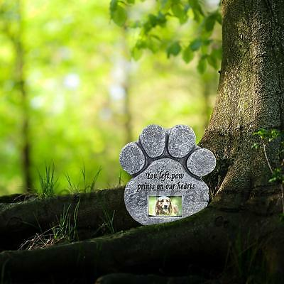 Pet Paw Print Devotion Garden Stone Memorial Picture Grave Dog Cat Headstone