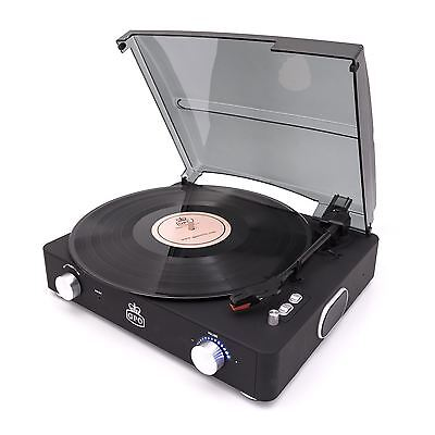 GPO Stylo II Turntable Black 3 Speed Record Player Built In Speakers Retro Vinyl