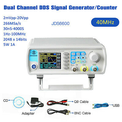 40MHz DDS Function Signal Generator Pulse Frequency Meter Counter 2mVpp-20Vpp