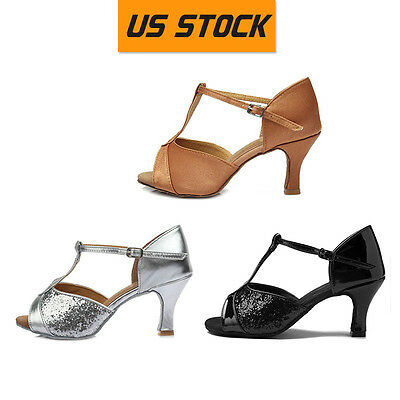 US Stock Women's Ballroom Latin Tango Dance Dancing Shoes heeled Salsa Shoes 808