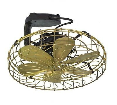 """Fan Brass Blade Antique Electric Vintage  Blades 16 """" Cage frequent  Oscillating"""