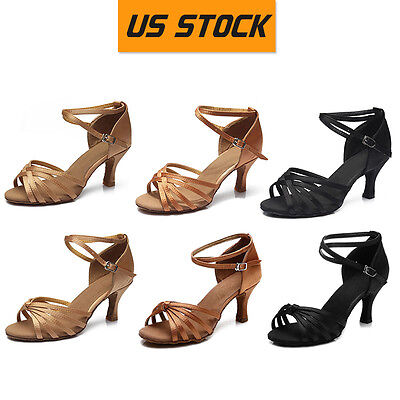 US Stock Women's Ballroom Latin Tango Dance Dancing Shoes heeled Salsa Shoes 802
