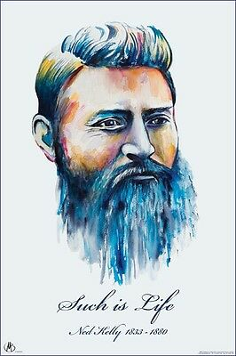 """NED KELLY: SUCH IS LIFE - PORTRAIT MATTEO BERNA - 91 x 61 cm 36 x 24"""" POSTER"""