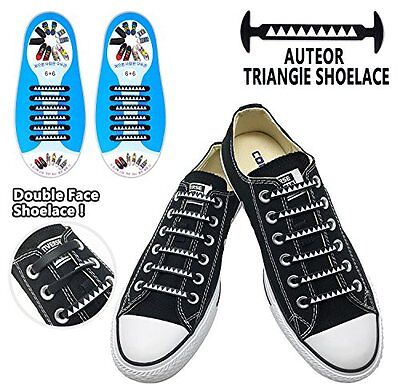 Triangle Adult Kids Elastic Lacing System Laceless Shoes Slip On Laces No-Tie