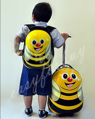 New Deluxe Kid Wheeled Rolling 17'' Suitcase Luggage & 13'' Backpacker (Bee)