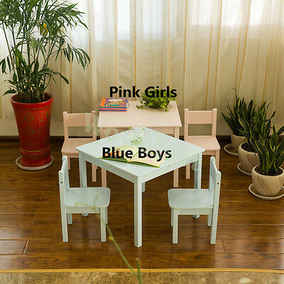 New Kids Wooden 60cm Table and 2 Chair Set (Baby Blue Colors)