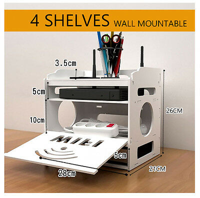 Router Modem Cable Storage Power Board Organiser Wire Socket Safety Tidy Rack