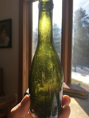 Antique 19th Century Stoddard Bottle Green Highly Irregular