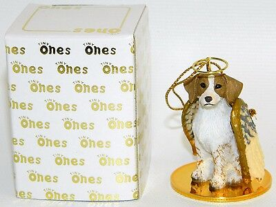 "Brittany Spaniel Dog Figurine Ornament Angel 2"" Brown White Figure Tiny Ones"
