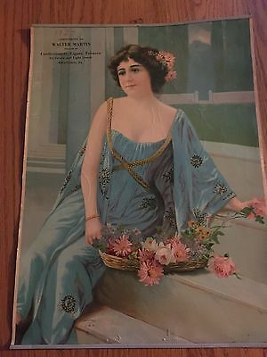 """Vintage Calendar Top 1927 Lady in a Blue Dress with Pink Flowers 16""""x12"""""""