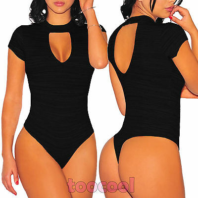 Body donna scollato maniche corte colletto sexy aderente nuovo DL-2108