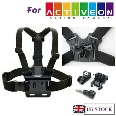 Body Chest Strap Harness Mount Holder for Activeon Solar XG CX Action Cameras