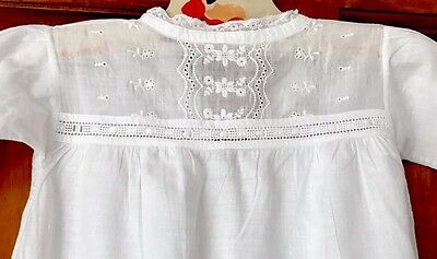 Vintage Childs Hand Embroidered White cotton Christening dress - Doll ?