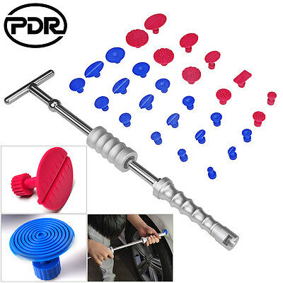 29pc Paintless Dent Repair Removal PDR Sliver Dent Puller Slide Hammer Tab Tools