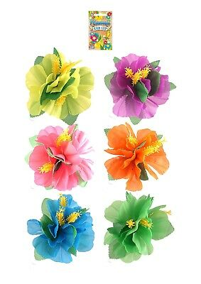 1 x HIBISCUS FLOWER HAIR CLIP Hawaiian Beach Summer Fun Hula Flower Fancy Dress