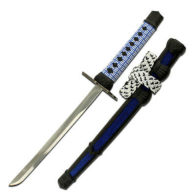 "Blue 8"" Samurai Style Sword Shaped Letter Opener Sheath Stand and Mirror Finish"
