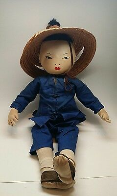 "Vintage Chinese Cloth Farmer Doll 18""-20"" Original Clothing"