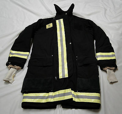 "Morning Pride FDNY Style Black Turnout Jacket Chest 44"" Gently Worn - EXCELLENT!"