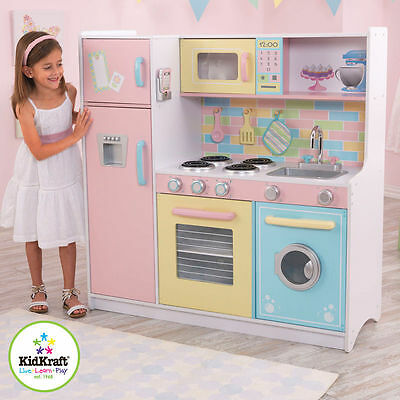 New Kidkraft Deluxe Culinary  Pastel Wooden Play Kitchen Kids Childs Girls Toy