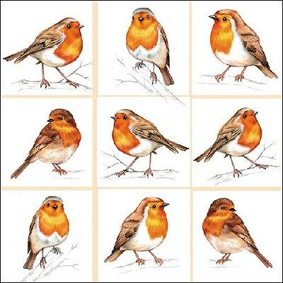 4 x Single Paper Table Napkin/Decoupage/Scrapbooking/Assorted Robins