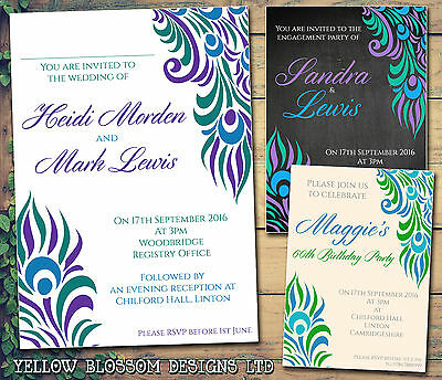 10 Wedding Day Evening Invitations Peacock Feather Birthday Engagement Party