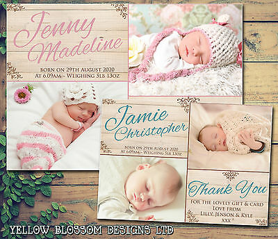 10 New Baby Boy Girl Thank You Birth Announcement Cards Childrens Printed Notes