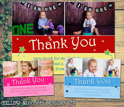 10 Personalised Thank You Cards Birthday Party Stars Photos Girl Boy Joint Photo