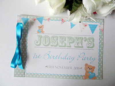 Personalised Birthday Guest Book Photo Album Memory Book Bunting Teddy Bear Dots